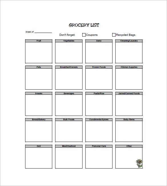 Shopping List Template \u2013 10+ Free Sample, Example, Format Download