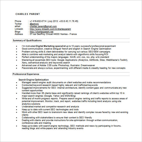 seo specialist sample resume