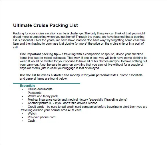 Packing List Template \u2013 10+ Free Sample, Example, Format Download