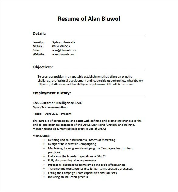 SEO Executive Resume Template \u2013 12+ Free Word, Excel, PDF Format