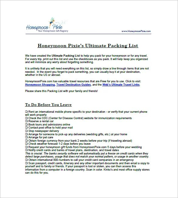 example of packing list - Barcaselphee