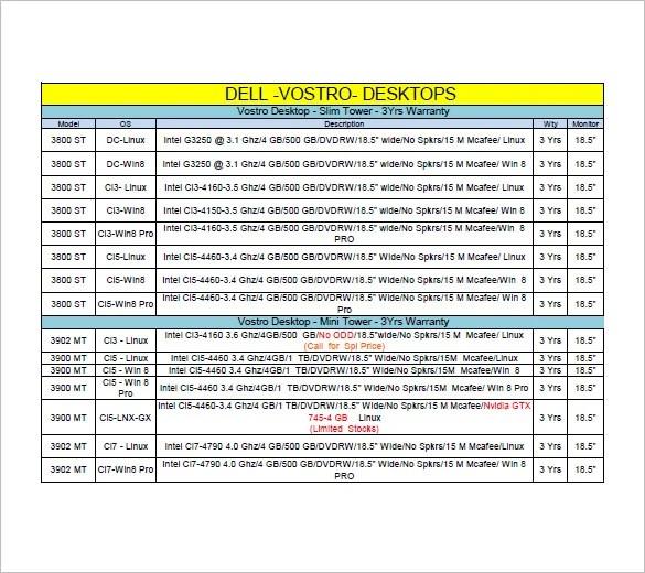 8+ Price List Templates - DOC, PDF Free  Premium Templates