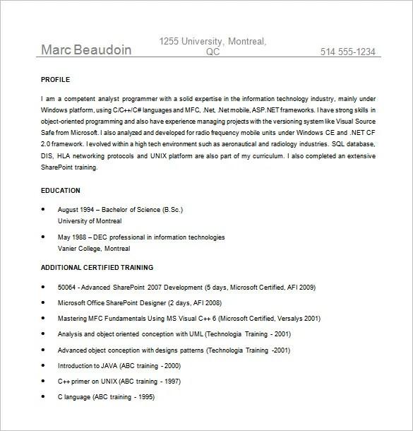 10+ Programmer Resume Templates - DOC, Excel, PDF Free  Premium