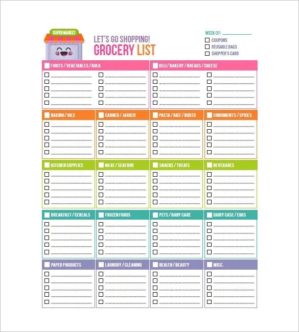 Grocery List Template \u2013 8+ Free Sample, Example, Format Download