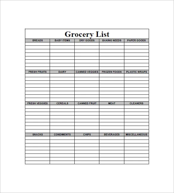 Grocery List Template \u2013 8+ Free Sample, Example, Format Download - example grocery list