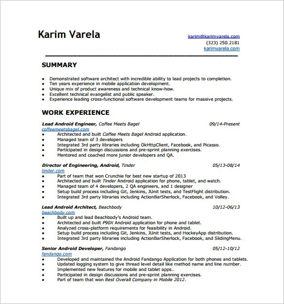 Android Developer Resume Templates \u2013 14+ Free Word, Excel, PDF - game developer resume