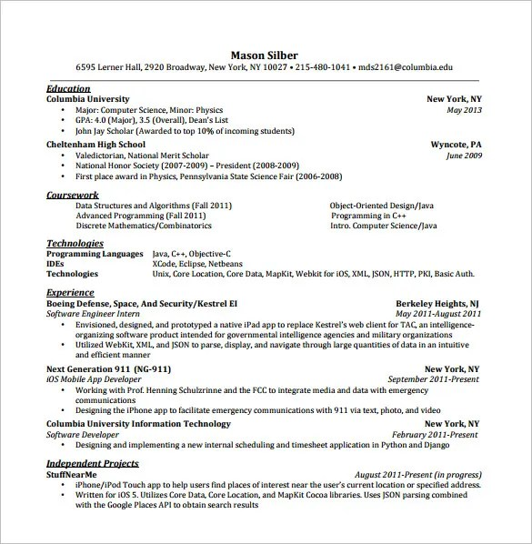 Android Developer Resume Templates \u2013 14+ Free Word, Excel, PDF