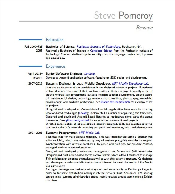 Android Developer Resume Templates \u2013 14+ Free Word, Excel, PDF - computer software engineer sample resume