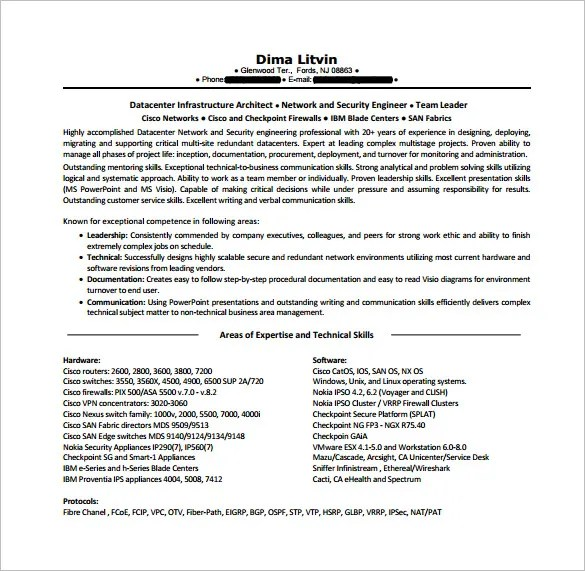 Network Engineer Resume Template \u2013 9+ Free Word, Excel, PDF, PSD - network engineer resume format