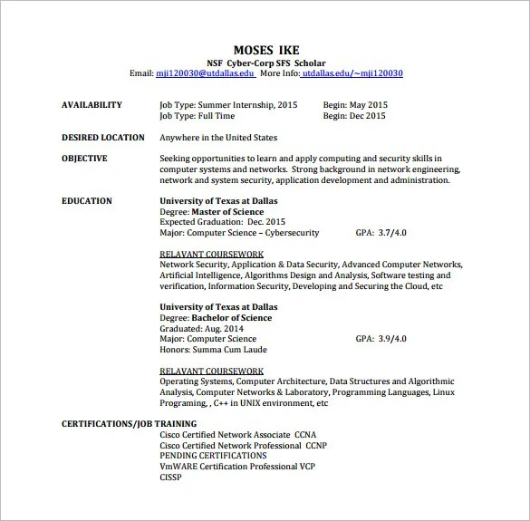 Network Engineer Resume Template \u2013 9+ Free Word, Excel, PDF, PSD