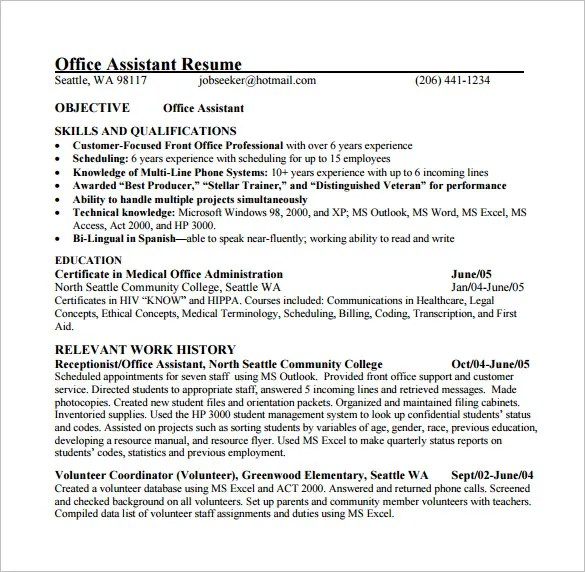 Medical Assistant Resume Template u2013 8+ Free Word, Excel, PDF - medical administrative assistant resume
