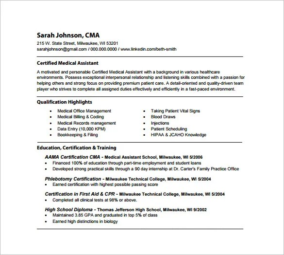 Medical Assistant Resume Template \u2013 8+ Free Word, Excel, PDF Format - Certified Medical Assistant Description