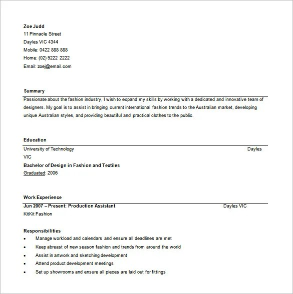 Fashion Designer Resume Template \u2013 9+ Free Word, Excel, PDF Format