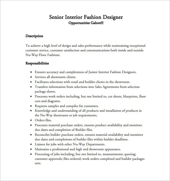 Fashion Designer Resume Template \u2013 9+ Free Word, Excel, PDF Format