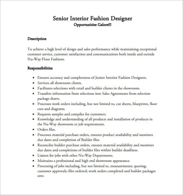 sample resume format for interior designer