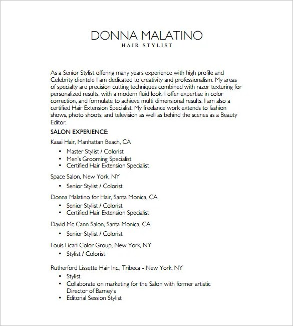 senior hairdresser resume