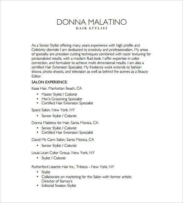 hair stylist resume template free