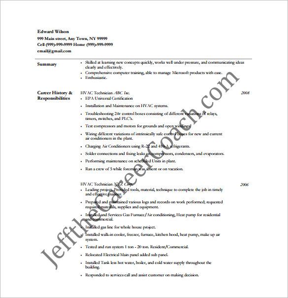 HVAC Resume Template \u2013 10+ Free Word, Excel, PDF Format Download