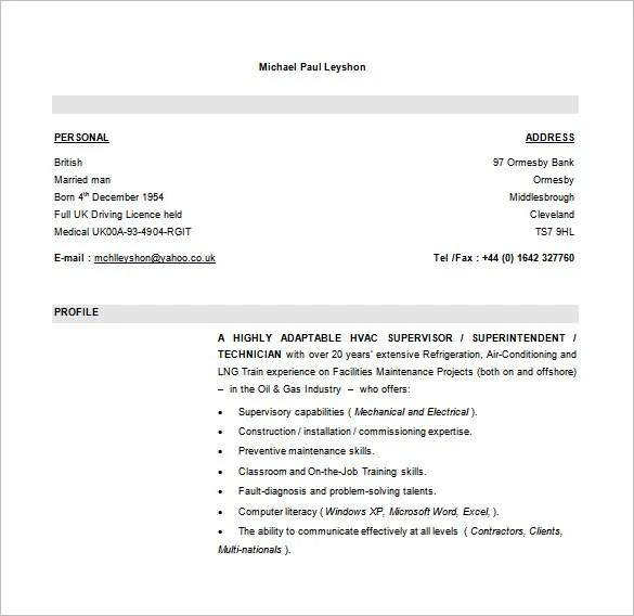 HVAC Resume Template \u2013 10+ Free Word, Excel, PDF Format Download