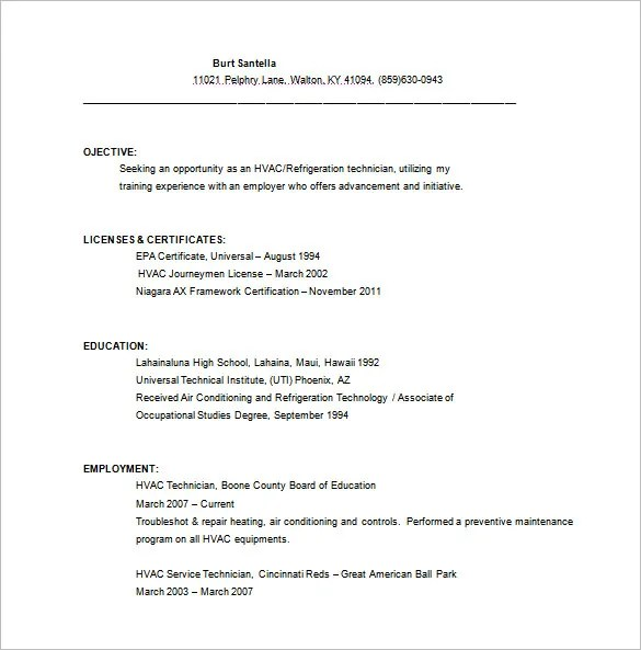 HVAC Resume Template \u2013 10+ Free Word, Excel, PDF Format Download - Refrigeration Mechanic Sample Resume