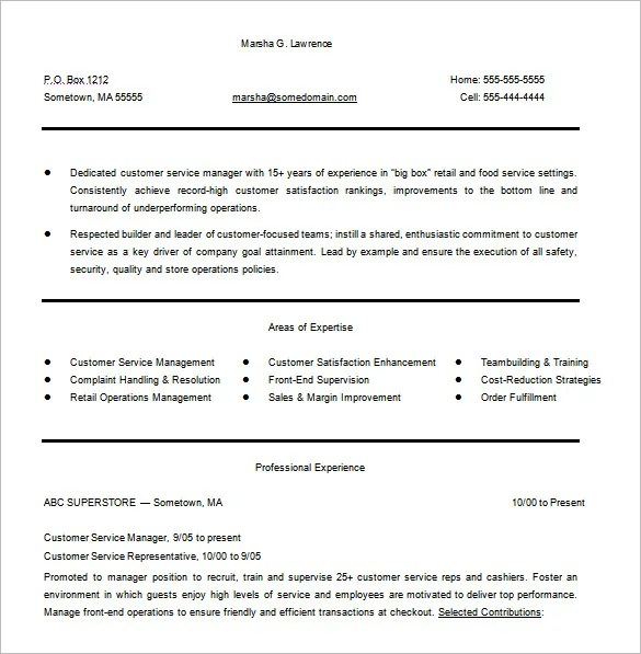 Customer Service Resume Template \u2013 11+ Free Word, Excel, PDF Format