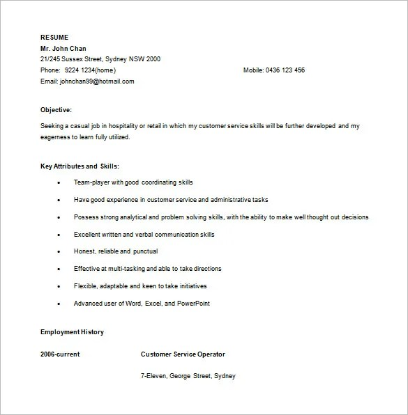 10+ Customer Service Resume Templates - DOC, PDF, Excel Free