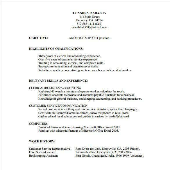 10+ Customer Service Resume Templates - DOC, PDF, Excel Free - Objectives For Customer Service Resumes