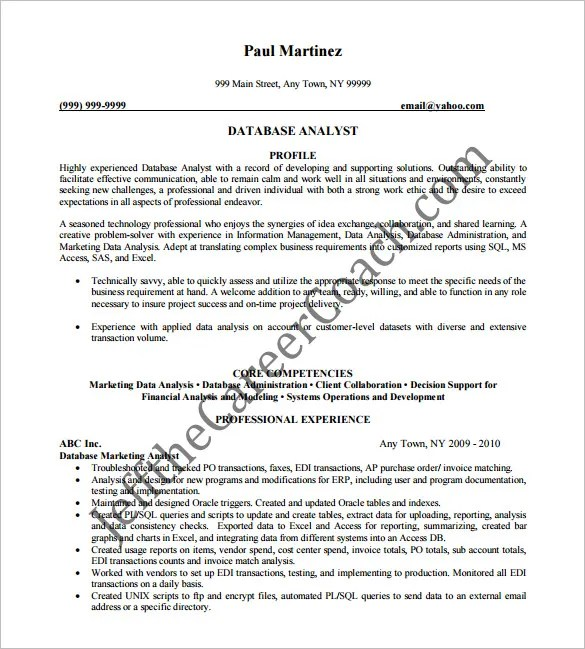 Marketing Analyst Resume Template \u2013 10+ Free Word, Excel, PDF Format - Marketing Database Analyst Sample Resume