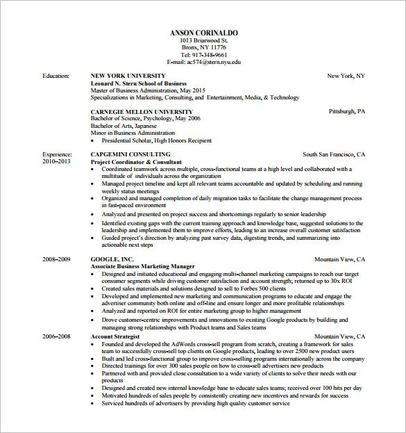 market resume templates