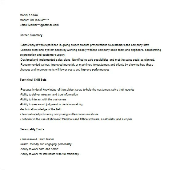 Marketing Analyst Resume Template u2013 10+ Free Word, Excel, PDF - marketing calculator template