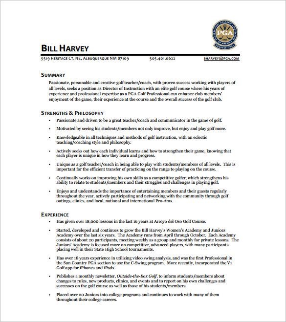 pga resume template