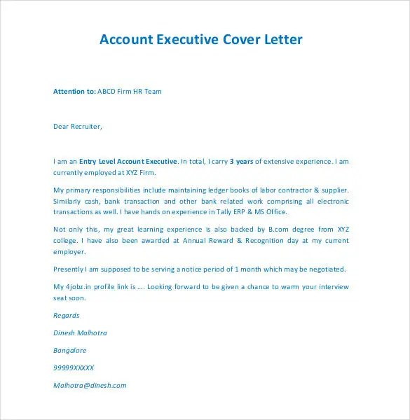 ... Manager Cover Letter Free Cover Letter Template   52+ Free Word, PDF  Documents Free   Banking Relationship ...