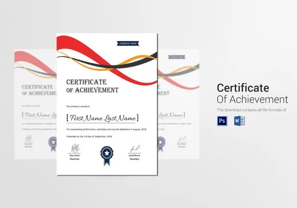 Certificate Template - 50+ Printable Word, Excel, PDF, PSD, Google