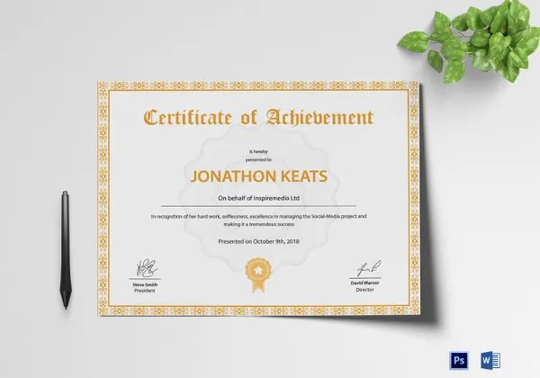 Certificate Template - 62+ Free Printable Word, Excel, PDF, PSD