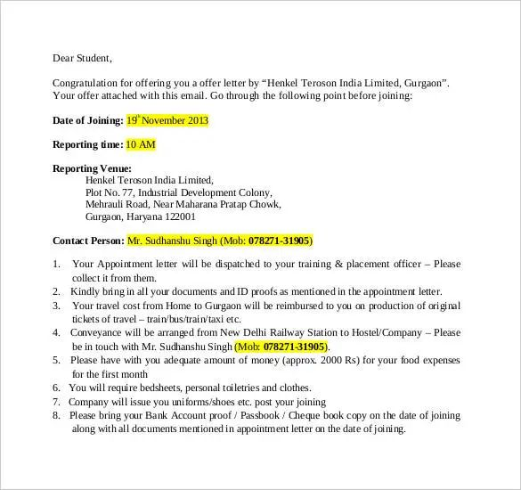 offer letter template india