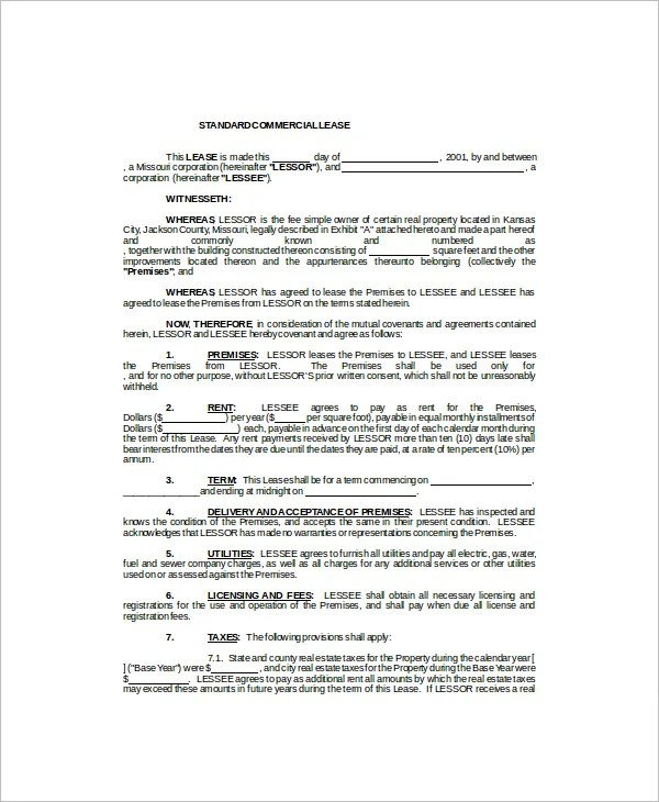 7+ Commercial Lease Templates - Free Sample, Example, Format Free - sample commercial lease agreements