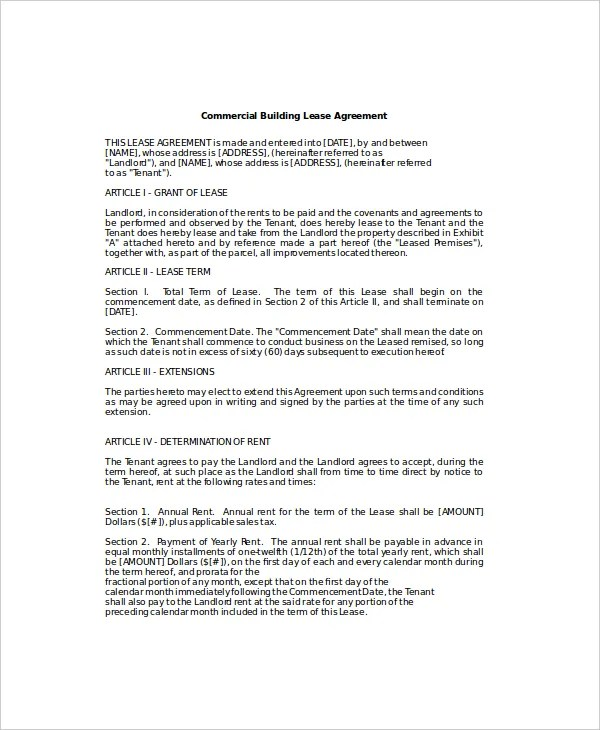 6+ Business Lease Templates - Free Sample, Example, Format Free