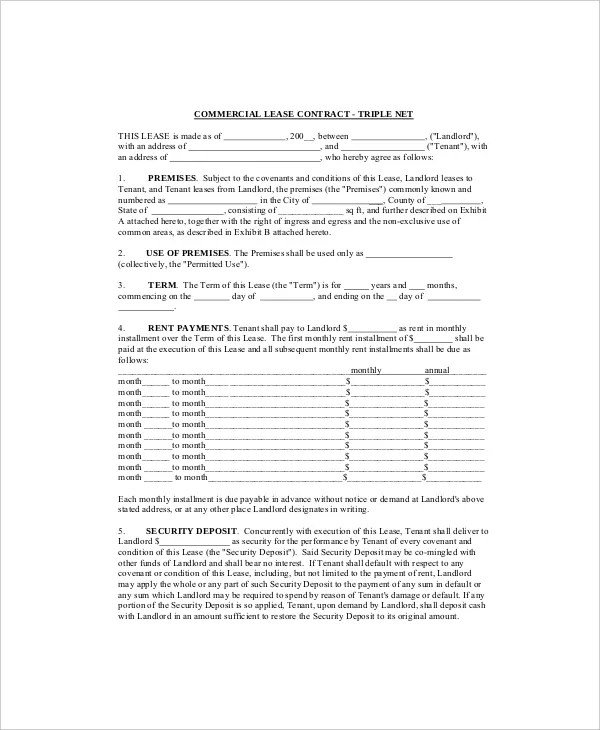 7+ Commercial Lease Templates - Free Sample, Example, Format Free