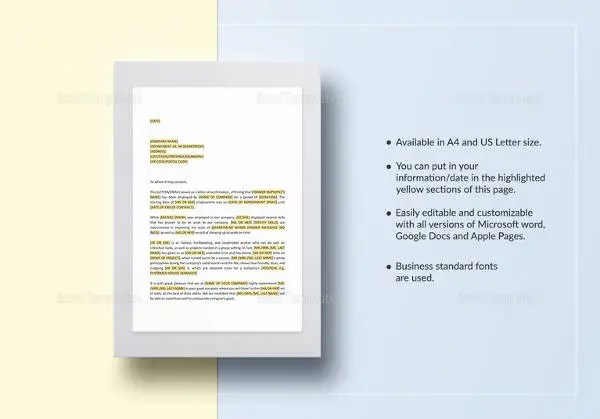 Letters of Recommendation \u2013 33+ Free Word, Excel, PDF Format