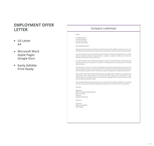 70+ Offer Letter Templates - PDF, DOC Free  Premium Templates - employment offer letter