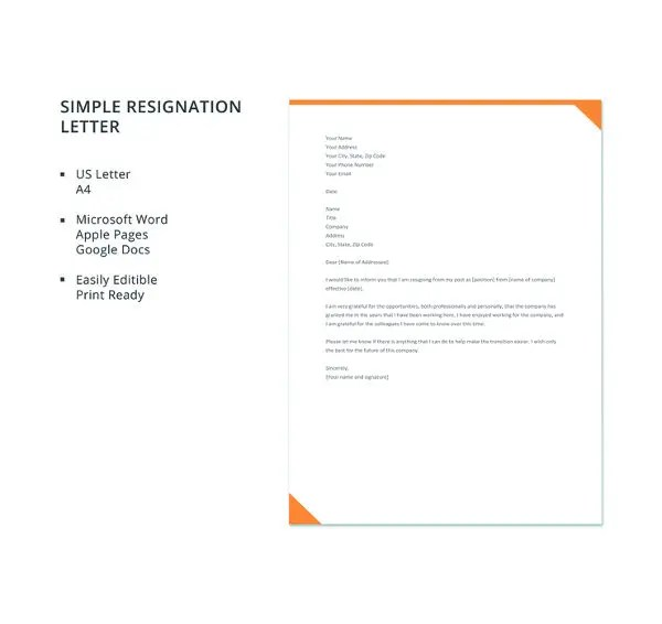 23+ Professional Resignation Letter Templates - PDF, DOC Free
