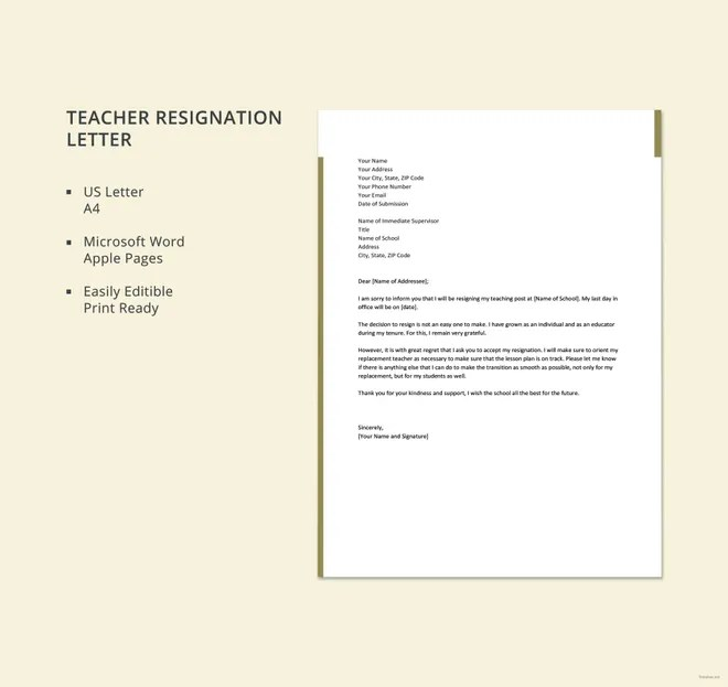 10+ Teacher Resignation Letter Template - Free Word, Excel, PDF