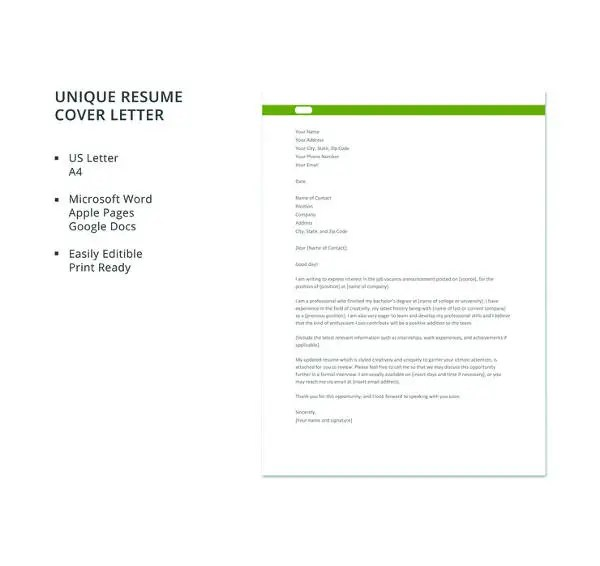 54+ Free Cover Letter Templates - PDF, DOC Free  Premium Templates