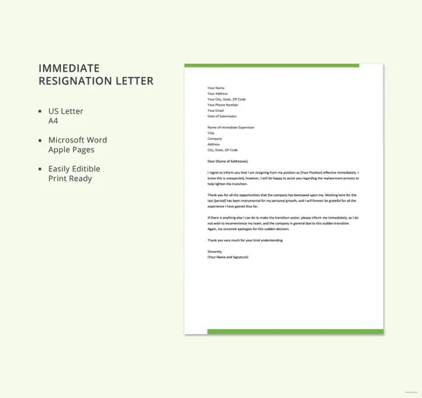 5+ Sample Immediate Resignation Letter Templates - PDF, DOC Free