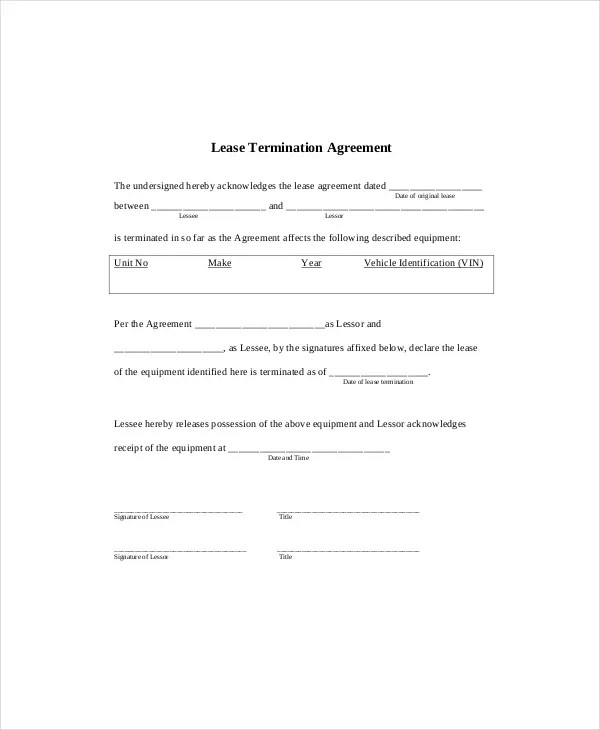 6+ Lease Termination Templates - Free Sample, Example, Format Free - lease termination agreement