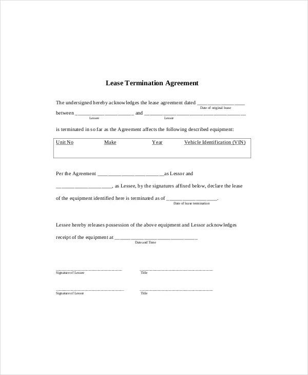 Lease Termination Template - 5+ Free Word, PDF Documents Download - lease termination agreement