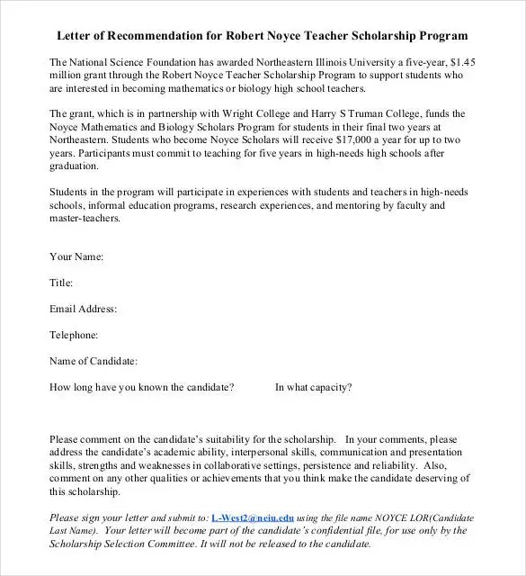 Letters of Recommendation for Scholarship - 26+ Free Sample - teacher letter of recommendation