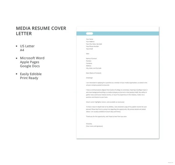 54+ Free Cover Letter Templates - PDF, DOC Free  Premium Templates - resume and cover letter template microsoft word