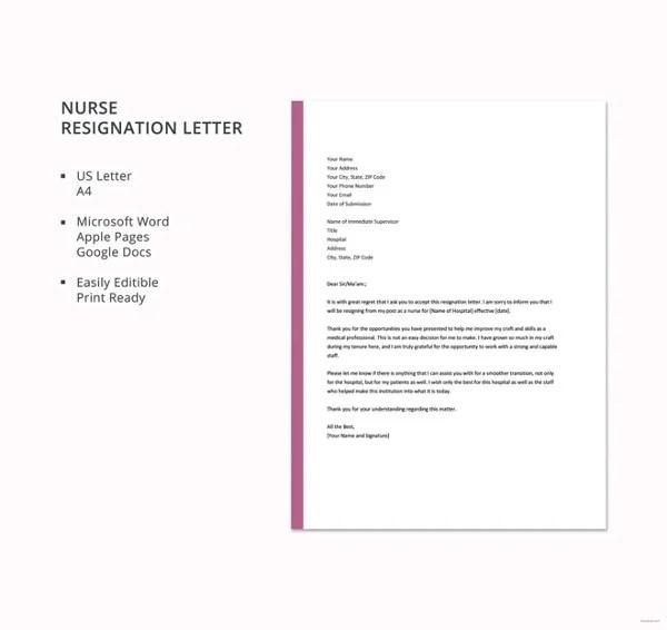 8+ Sample Nursing Resignation Letter Templates - PDF, DOC Free