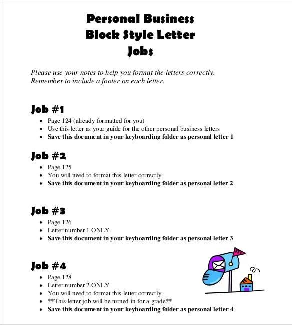 personal business block style letter job proper letter format